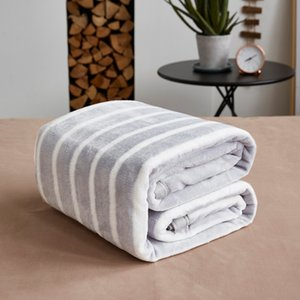 Grey White Striped Blanket 150x200cm, 180x200cm, 200x230cm Thick Spring Autumn Blanket for Single Double Bed XF765-2