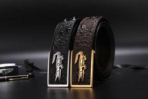 2020 fashion business and leisure belt men designer belts crocodile skin material steel qualitative smooth buckle belt Width is 3.8 cm