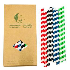 Payet Geri dönüştürülebilir Karışık Renkli Eğlence Dekorasyon Kahve İçecek İçme 10mm * 200PCS Büyük Çap Kağıt Straw Jumboo Smoothies MilkShake