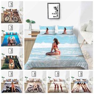 Yatak takımları 3D Baskı Seaside Beach Seksi Kız Nevresim Yatak Set İkiz Tam Kraliçesi Boyutu ayarlar