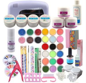 Gros- nail art ensemble professionnel outils de manucure nail art set ongles en acrylique ensembles kit comprenant les accessoires de lampe UV 9W sèche