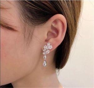 Earrings jewelry S925 sterling silver full diamond flower earrings women jewelry Free shipping