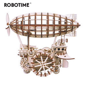 Robotime DIY Moveable Airship Gear Drive by Clockwork 3D Wooden Model Building Kits Toys Hobbies Gift for Children Adult LK702 MX200414