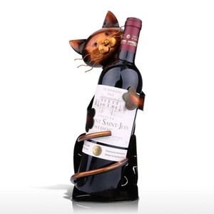 Cat supporto a forma di Vino scaffale di metallo Figurine cremagliera pratica Figurine per la bottiglia di Office Home Decor Wine Rack Animal