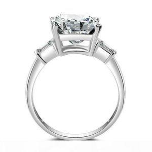 D D Women &#039 ;S Square 5 Ct Three Stone Big Jewelry Ring Pure 100 %925 Sterling Silve White Topaz 5a Zirconia Cz Engagement Wedding