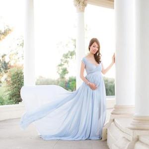 Novo Laço Branco Vestido de Maternidade Fotografia Pôncrolas de Algodão Longa Vestido de Algodão Mulheres Elegante Fantasia Photo Shoot Roupas