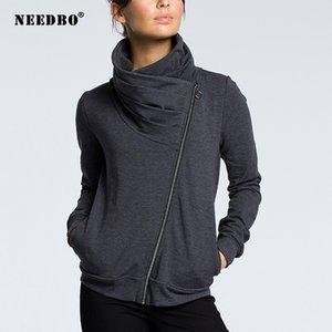 NEEDBO New Style Jacket Mulher do outono Oversize Blusão Brasão Casual Magro Turtleneck Casaco motociclista Jackets Outwear Streetwear