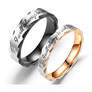 2019 Couple's Rings New Fashion Black and Rose Gold Color Crystal Letter Wedding Ring for Woman Man Drop shipping