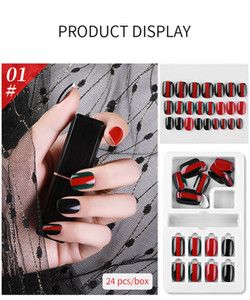 NAF005 24PCS Detachable False Nail Artificial Tips Set Full Cover for Nails Art Fake Extension Tips with Adhesive and retail box