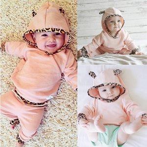 2PCS Inverno Bambini Newborn neonate panno Hoodie dell'orecchio Felpa a maniche lunghe con stampa leopardata T-shirt + Leggings Pants Outfits Set