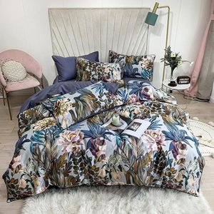 Tropical Leaves Flowers Duvet cover set Silky Soft 100%Egyptian Cotton Bedding set Queen King Bed sheet Quilt Cover Pillowcases T200326