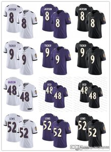 Erkekler Kadınlar BaltimoreRavensGençlik 8 Lamar Jackson 9 Justin Tucker 48 Patrick Kraliçe III 52 Ray Lewis Futbol Formalar Siyah