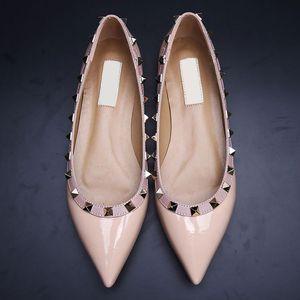 vendita! B050 34/40 cuoio genuino di appartamenti v stallone ballerina blu nero nude giallo rosa rossa rosa donne di moda