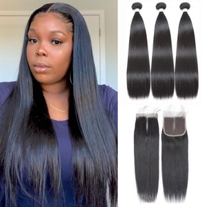 Modern Show Malaysian Human Hair Wefts Middle Radio Remy Straight Hair 3 Bundles With 1pc Lace Closure Human Hair Extensions