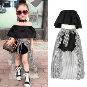 Baby Girl 2-7Y Criança Kids Clothing Summer Set Alças Tops T-shorts Hem Cloak 3Pcs Roupas Roupas