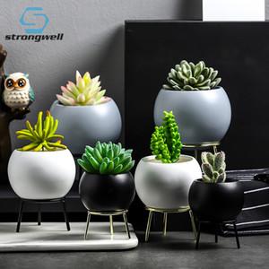 Strongwell Succulentes Planteur Pots de fleurs Céramique Art Vase Pots de fleurs en fer stand Décoration Accessoires Fairy Garden Y200709