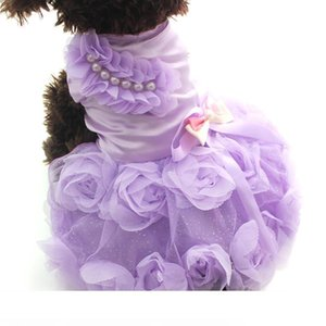 Pet Dog Princess Dress Tutu Rosette&bow Dresses Cat Puppy Skirt Spring Summer Clothes Apparel 2 colours