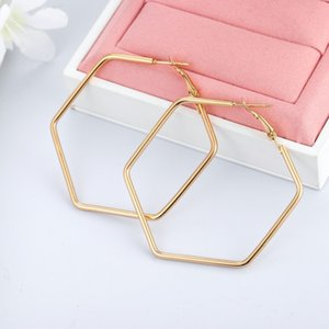 Vintage Hoop Earrings For Women Accessories Personality Simple Metal Hexagon Geometric Earrings Fashion Jewelry Gift Gold Color