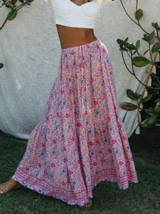 Kiyumi 보헤미안 꽃 프린트 스커트 높은 허리 분할 맥시 레이온 스커트 빈티지 여성 비치 느슨한 캐주얼 2020 여름 긴 핑크 스커트