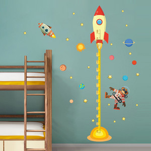 diy Outer space Planet Monkey Pilot Rocket home decal height measure wall sticker for kids room baby nursery growth chart gifts