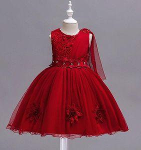 Crianças exclusivo vestido vermelho vestido de casamento de crianças grandes infantil arco da menina vestido net