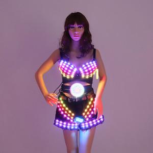 Voller Colo LED Kleidung glühenden BH Shorts Mode Luminous Gürtel Talent Show Frauen LED DJ Kostüm Ballsaal Mechanische Tanz