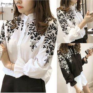 Women Long Sleeve Embroidered Printed Flower Blouse Top Holiday Summmer Long Sleeve White Shirt Drop Shipping