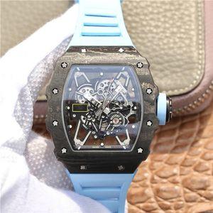 NT 슈퍼 RM35-02 방수 시계 MONTRE DE 럭셔리 43mm 탄소 섬유 케이스 실리콘 시계 밴드 자동 기계식 무브먼트 시계