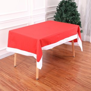 2018 New Red Christmas Tablecloths Kitich Dinner Room Santa Claus Table Covers Xmas Party Decoration DH0298