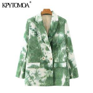 KPYTOMOA Mulheres 2020 Moda Abotoamento Tie-dye Imprimir Brasão Blazers Vintage manga comprida Pockets Tops Feminino Casacos Chic