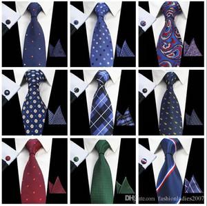 Классические мужские Галстуки наборы 51 Дизайн 100% Silk Neck Ties шура запонка 8 см Плед Полосатых Галстуки для мужчин Формального бизнеса Свадьбы партия Gravatas