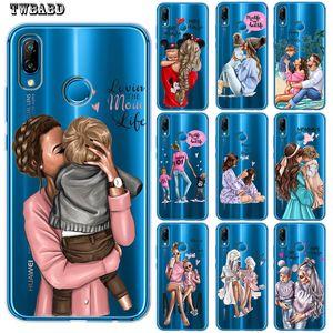 Black Brown Hair Baby Mom Girl Coque Shell Phone Case For Huawei P30 Lite P30 Pro P20 Lite P8Lite P9Lite 2017 P10 P Smart Capa