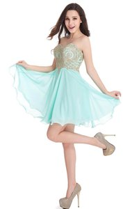 Babyonblinedress Sexy Open Back Mint Verde Gold Lace Vestidos Homecoming querida Neck Chiffon Curto Evening Prom Vestidos CPS406