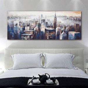 Modern City Scenery Landscape Oil Painting on Canvas Abstract Wall Art Pictures for Living Room Bedroom Modern Wall Decor Poster Prints