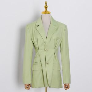 Suits SONDR elegante Loose Women Blazer entalhado Long Neck Sleeve Túnica Ruched Femininas Moda roupas 2020 Verão Tide