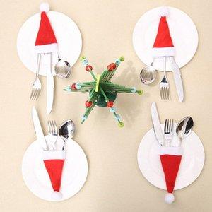 2018 Caps caliente de Navidad cubiertos portacuchillas Tenedor Set Navidad de la cubierta Material Tenedor Cuchara de bolsillo bolsa de decoración LREL #