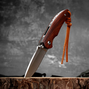 Original rosewood handle Folding Knife stainless steel small pocket knife for outdoor camping hiking hunting rescue survival