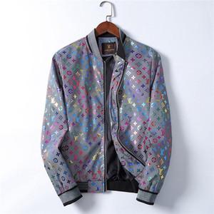 2020 diseñador de Italia Chaqueta letra de la manera reflexiva Imprimir chaquetas de los hombres adelgazan la cremallera de abrigo rompevientos abrigos de invierno de otoño