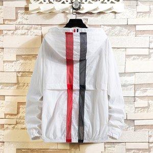 Ropa de cuero prendas de vestir ropa de protección solar de la chaqueta con capucha de la chaqueta delgada de la piel de la ropa deportiva par protector solar desgaste de los hombres 8837