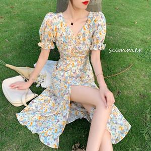 Small Fresh Floral Dress 2020 New Summer Waist Slimming Long Split Skirt Fairy French Platycodon Grandiflorum Skirt