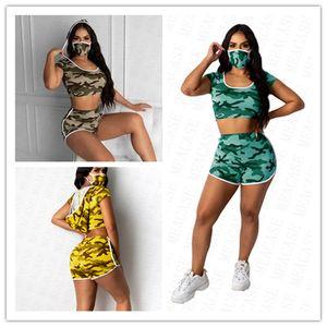 Face Women Summer Tracksuit Mask Color Hooded Crop Top Suit + Shirt Biker Shorts + Camo Set 3pcs Clothing Designer Sports T Home Wear D Qssu