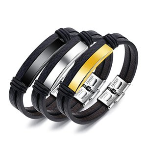 Multi Layer Silver Gold Black Leather Bracelets for Men Women Engraving Stainless Steel Casual Personalized Bangle Bracelet