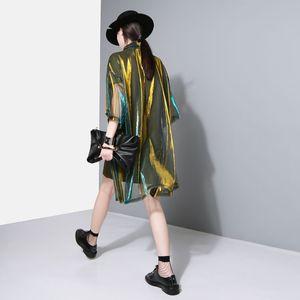 [EAM] 2020 New Spring Summer Lapel Three-quarter Sleeve Green Shing Perspective Loose Big Size Shirt Women Blouse Fashion JU180 CX200710