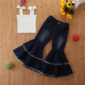 Baby Kids Clothes Children Fashion Clothing Girls Outfits Girls Sets Shoulder-straps Bow Top Long Pants 2 Pcs Sets