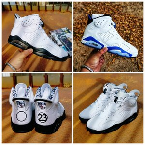2020 New Jumpman 6 Sports Blue 6s GS Alligator DMP Basketball Shoes 3M Reflect Sliver Graffiti Trainers for Men Women Sneakers size 36-47