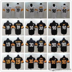 Erkekler Kadınlar PittsburghSteelersgençlik 19 JuJu Smith-Schuster 90 TJ Watt 30 James Conner Futbol Formalar Siyah Rush beyaz