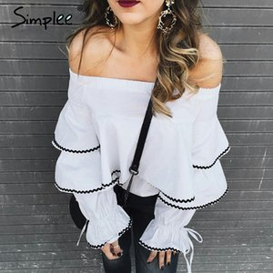 Simplee Casual long sleeve blouse shirt women tops Ruffle white blouse chemise Elastic cool blusas cold shoulder tops