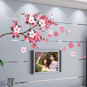 Beautiful Flower Wall Stickers Cherry Blossoms DIY Home Decor Cherry Tree Wallpapers for TV Sofa Living Room Bedroom Removable