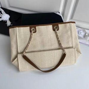 Classic shopping bag beach lady's handbag 7A high-end custom quality handbag fashion business casual style gold silver metal accessories bel