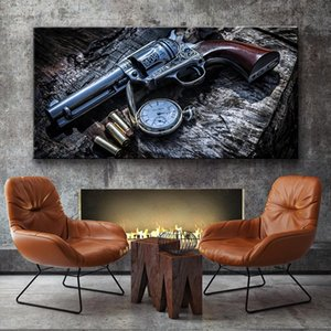 Revolver Weapon Gun Poster Pocket Watch Wall Art Canvas Painting Wall Art Pictures for Living Room Home Decor (No Frame)